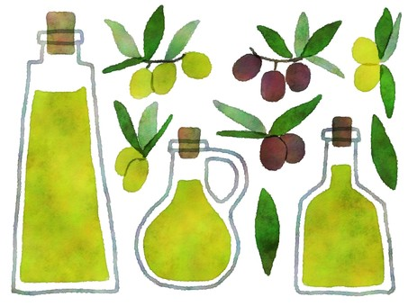 Watercolor-style olive oil