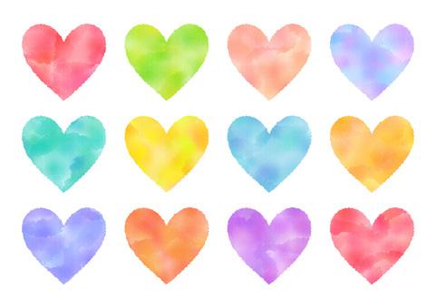 Watercolor heart a dozen