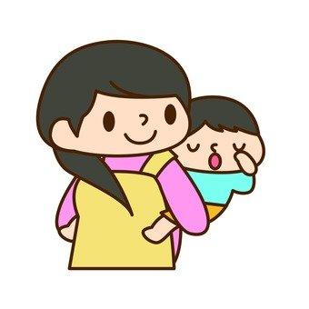 Boy with a piggyback holder