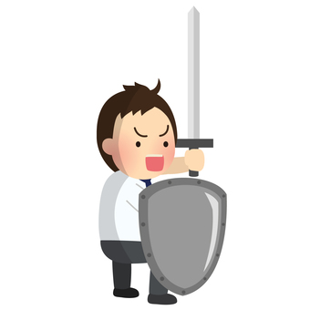 Office worker warrior holding a sword and a shield