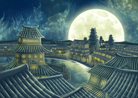 Townscape of tile roof and moonlight
