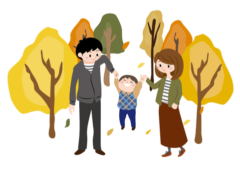 Fall landscape _ 3 people family
