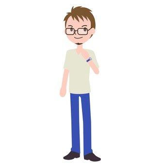 캐주얼 안경의 남성 3