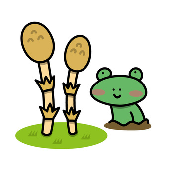 Illustration of Tsukushi and frog