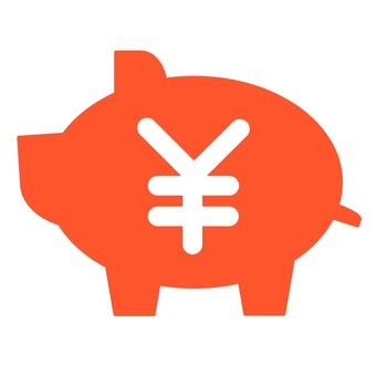 Pig piggy bank yen circle mark