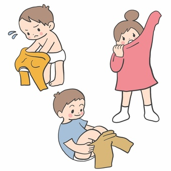 Children changing clothes at a nursery