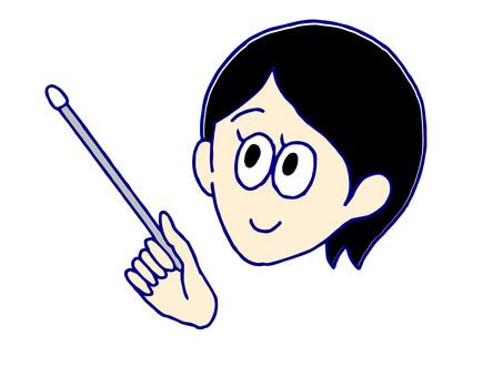 指向與指針的點的女老師的面孔和手