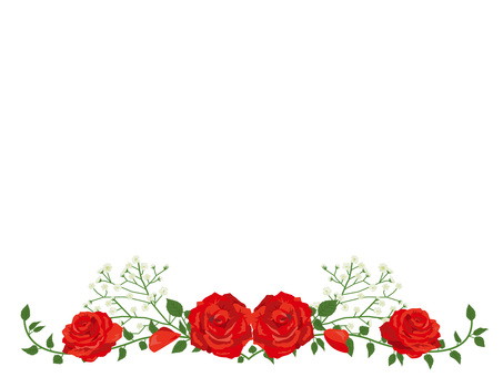 Red rose garland decoration card 02