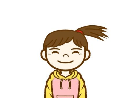 소녀, 미소.