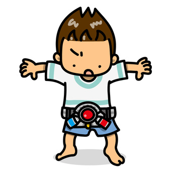 おもちゃの変身ベルトをつけた男の子