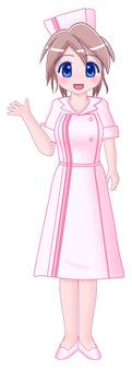 Nurse pink brown hair