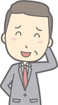 Middle-aged man suit - vain - bust