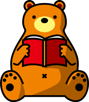 A bear reading a book