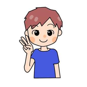 Boy making three fingers