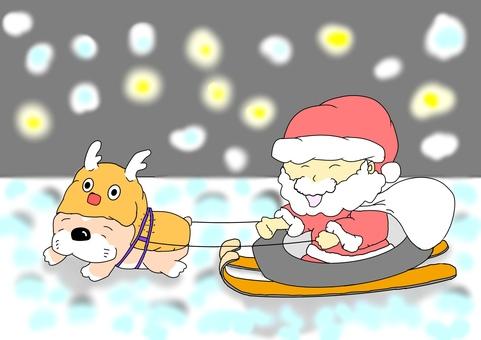 Santa Claus and French bulldog