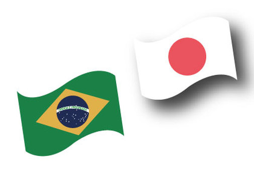 Flag of Brazil and Japan