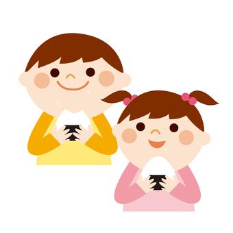 Illustration for children to eat rice balls