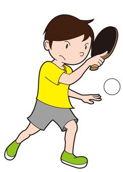 Smashing table tennis boy
