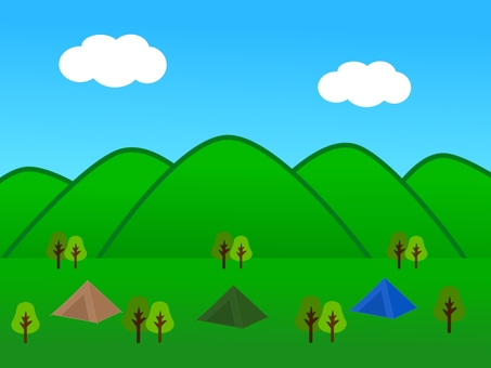 Fresh green and tent landscape