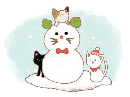 Loose cat and snowman