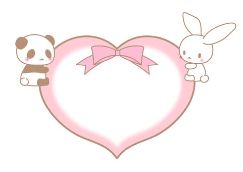 하트 안음 토끼와 팬더 메시지 카드