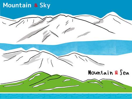 Mountains, sky and sea