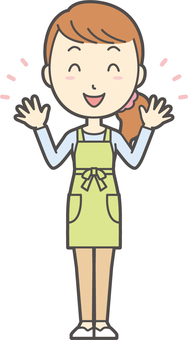 Apron youth long hair-03-whole body