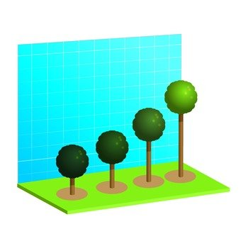 Three-dimensional column chart 1 of a tree 1