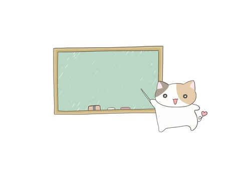 Blackboard and calico cat
