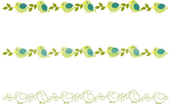 Decorative ruled line 006 (bird, set, leaf)