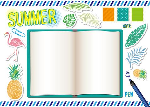 Summer stationery illustration set