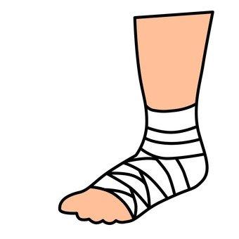 A bandaged foot