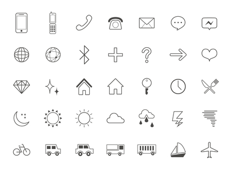 Standard icon set [5] line drawing