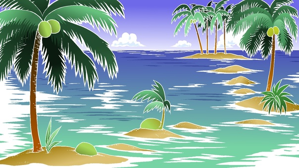 Sandy beach and palm trees 2