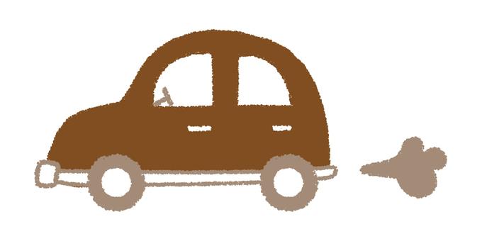 Hand-drawn car _ brown