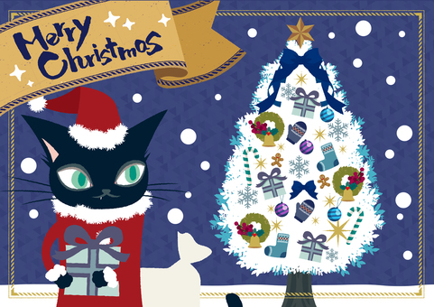 Cat Santa and Christmas tree