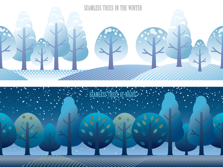 Seamless Four Seasons Forest 5 Winter and Night Set