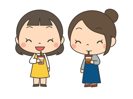 Women drinking tapioca drinks