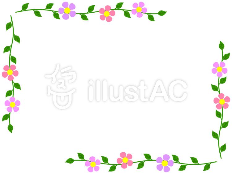 花と葉のフレームかわいいシンプルな飾り枠イラスト No 1082064無料