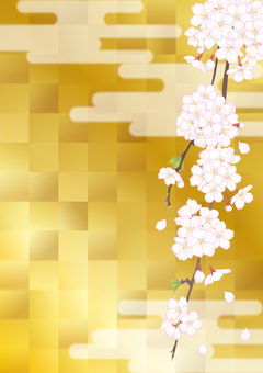 Weeping cherry tree _ gold foil checkered_ai data available