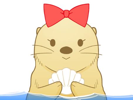 微笑んでるラッコちゃん(水中)