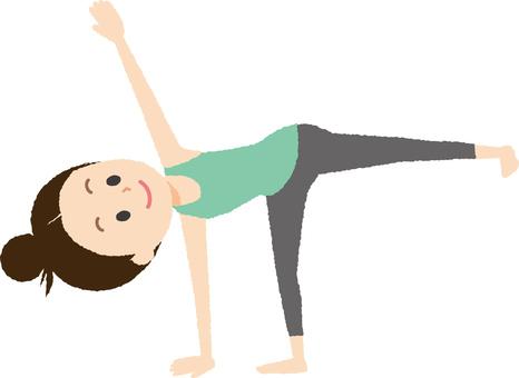Yoga Poses of a half moon