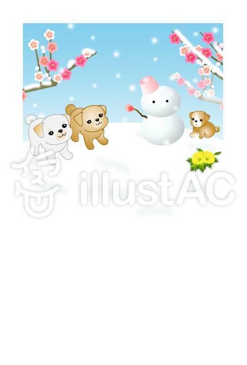 雪遊びの子犬01・文字なしのイラスト