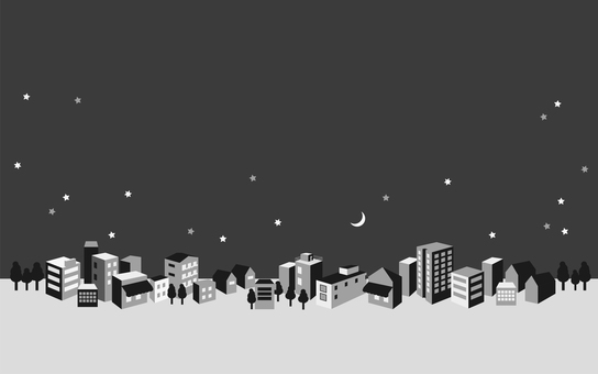 Monochrome night town