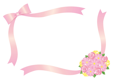 Ribbon and bouquet frame (pink)