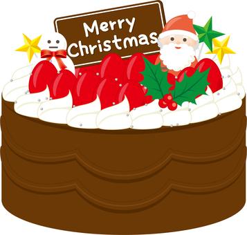 크리스마스 케이크 (딸기와 초콜릿)