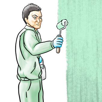 Painting craftsman, green paint