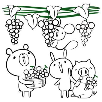 Grape hunting animals drawing