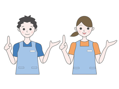 Illustration pointing at male and female care staff