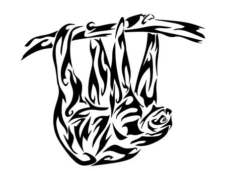 Monochrome art tribal sloth